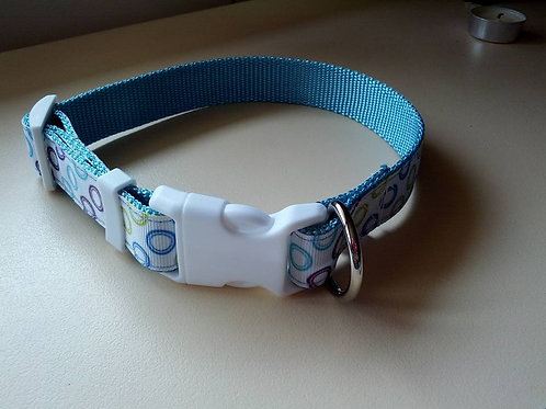 Blue circle adjustable dog collar