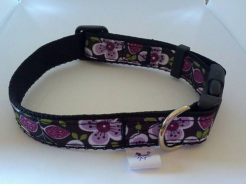 Purple floral adjustable dog collars for small / medium size dogs