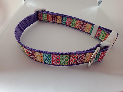 Bright geometric print adjustable dog collars small