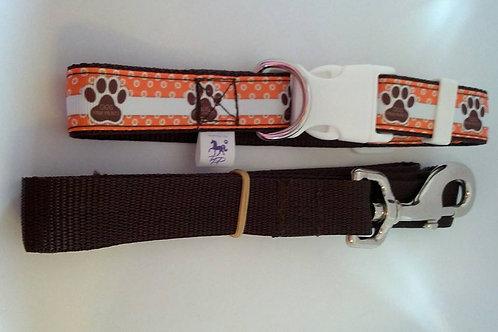 Orange and brown paw print dog collar and lead set - medium
