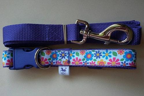 Purple flower adjustable webbing dog collar and lead sets