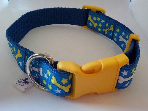 Sky blue dog bone pattern dog collars