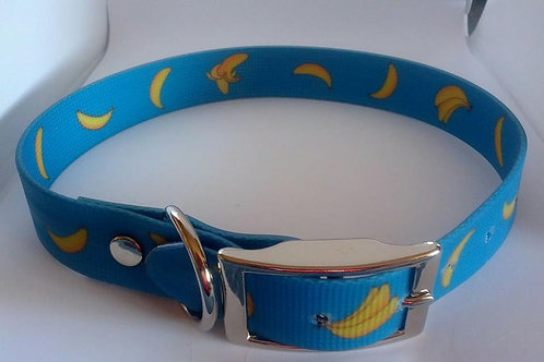 Bright blue banana patterned waterproof dog collars