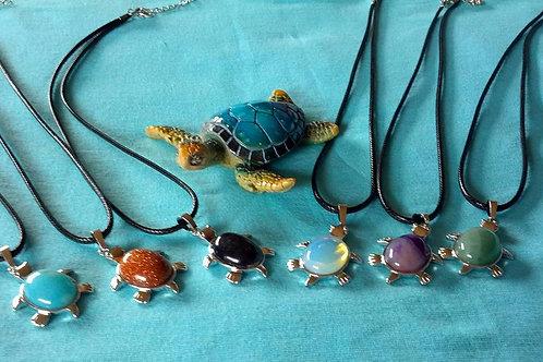 Natural stone silver turtle pendant necklaces