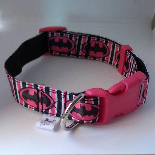 Pink and black bat girl adjustable webbing dog collars