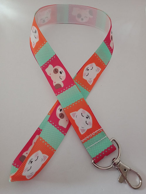 Cute pet dog and cat print lanyard / ID holder