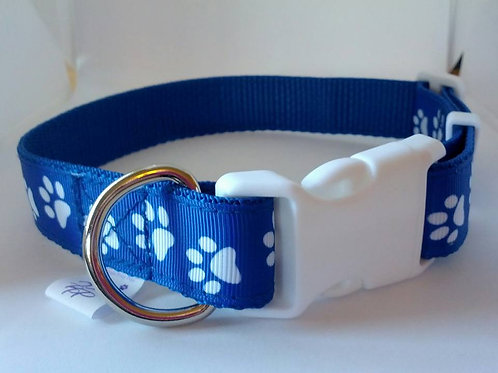 Blue and white paw patterned adjustable webbing dog collars