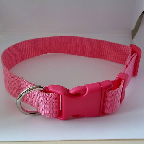 Economy pink adjustable webbing dog collar