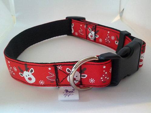Red Christmas adjustable webbing dog collars