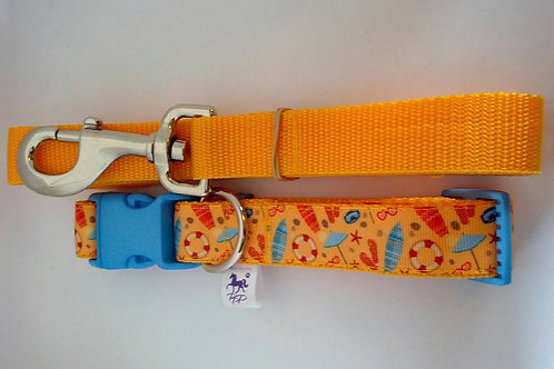 Bright beach themed adjustable dog collar and lead sets