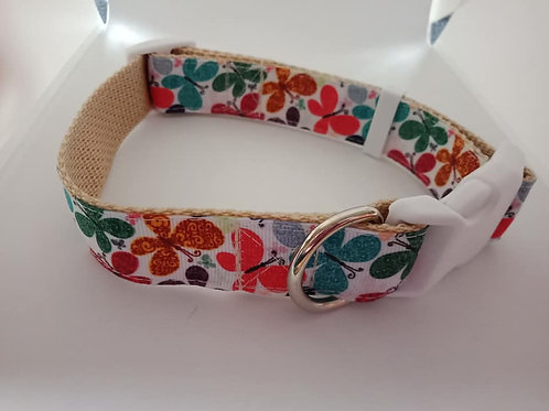 Butterfly print adjustable dog collars large