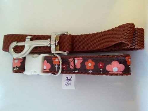 Brown and orange flower pattern dog collar and lead set
