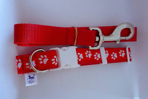 Red and white dog paw dog collar and lead set