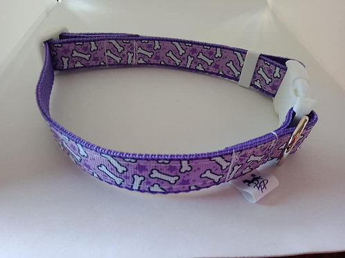 Purple dog bone print adjustable dog collars small