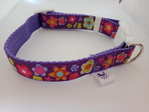 Purple flower dog collar - small