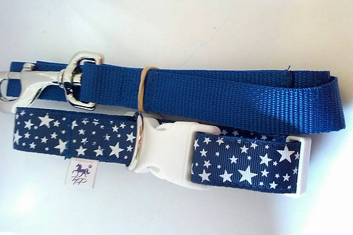 Blue and white star adjustable dog collar and lead set