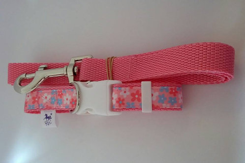 Pink and blue flower adjustable dog collar and lead set
