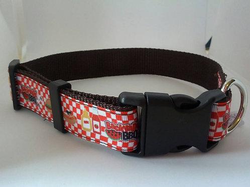 BBQ patterned adjustable webbing dog collars
