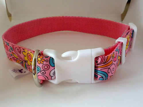 Hippy chic pink patterned webbing adjustable dog collar