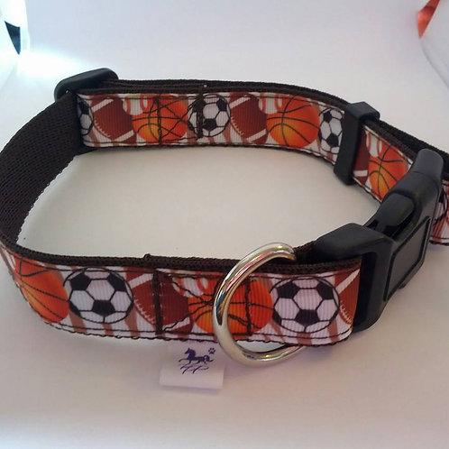 Brown football  / soccer adjustable dog collar