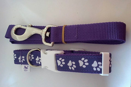 Purple and white paw print adjustable collar and lead sets