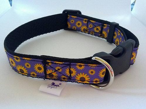 Purple flower adjustable webbing dog collar