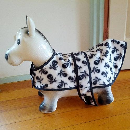 Medium size black and white skull patterned fleece dog coat