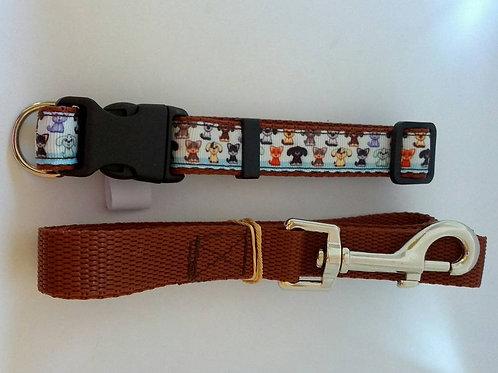 Brown dog print adjustable dog collar and lead sets