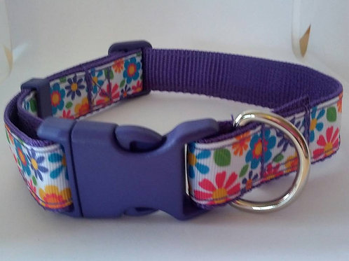 Purple flower power adjustable webbing dog collars