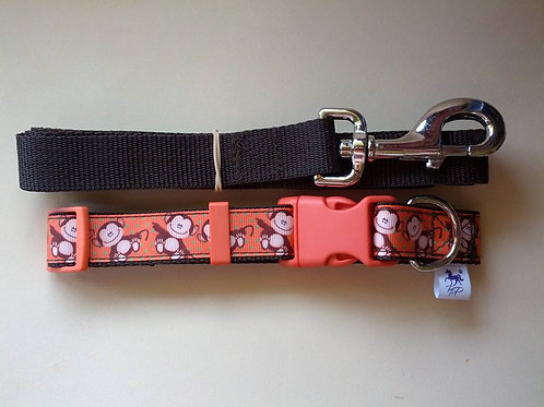 Orange and brown monkey adjustable collar and lead sets