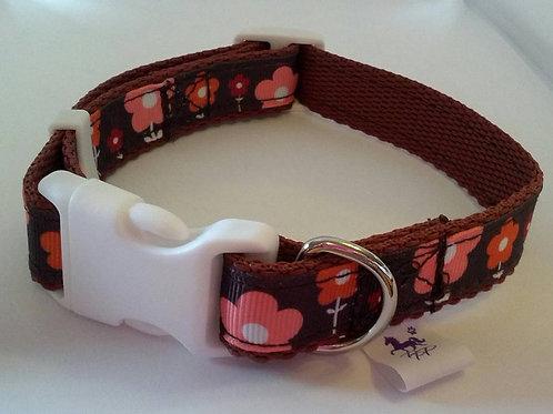 Brown and orange flower print adjustable dog collars