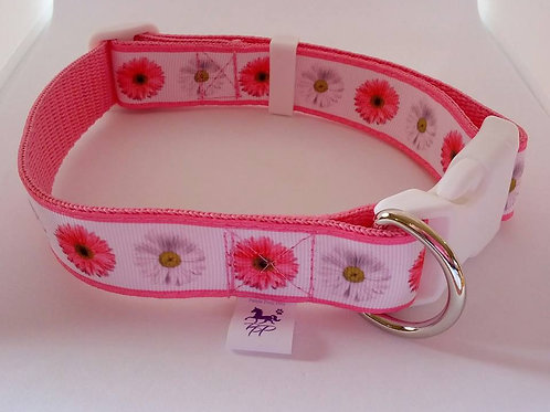 Pink floral wedding adjustable dog collar - large