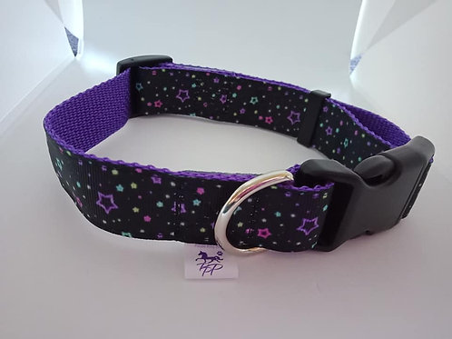 Purple and black star adjustable dog collar - large