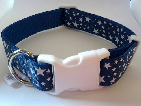 Blue and white star pattern adjustable dog collar