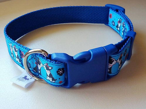 Medium blue dog pattern adjustable webbing dog collar