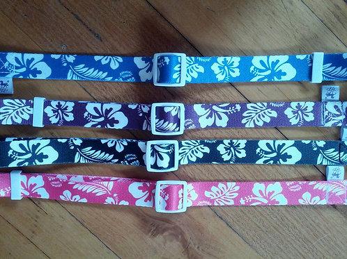 Hawaiian print adjustable webbing dog collars