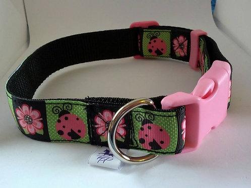 Black pink and green ladybird pattern adjustable dog collar