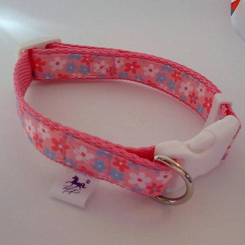 Pink and blue flower adjustable dog collar