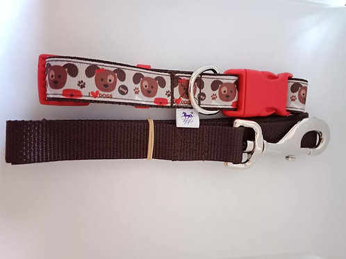 I love dogs pattern adjustable dog collar and lead set - large