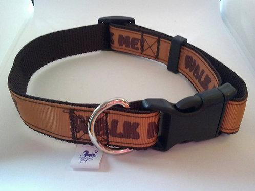 Brown walk me patterned adjustable dog collar