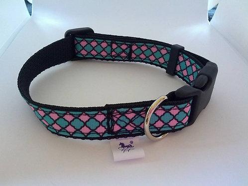 Pink and green geometric pattern adjustable dog collars
