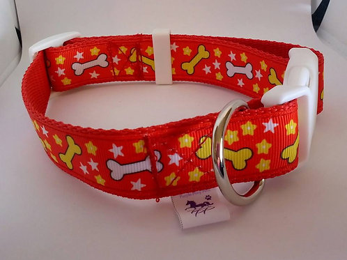 Red webbing adjustable dog collar with bone pattern