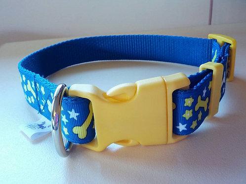 Blue adjustable webbing dog collar with dog bone pattern
