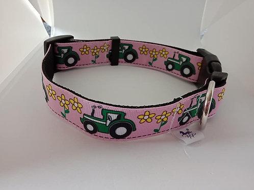 Tractor print adjustable dog collar large