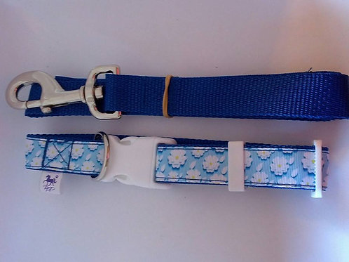 Blue and white flower pattern adjustable dog collar and lead sets