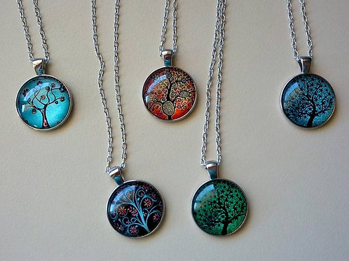 Tree of life silver pendant necklaces
