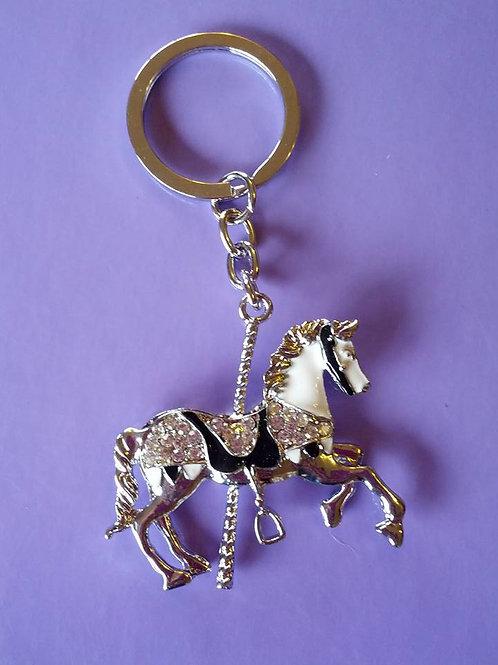 Silver carousel horse keyrings