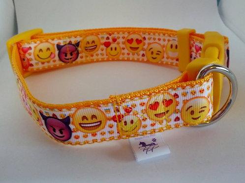 Emoticon adjustable webbing dog collars