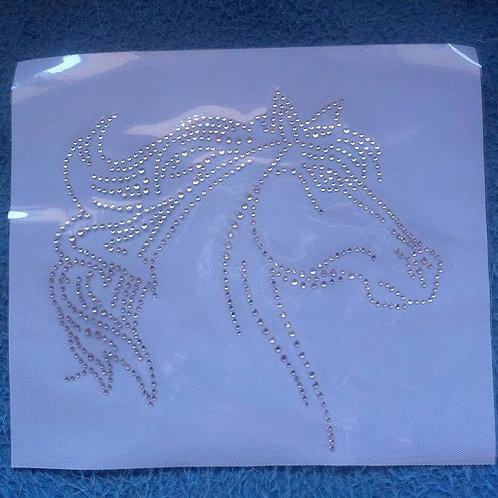 Crystal horse head iron on transfer