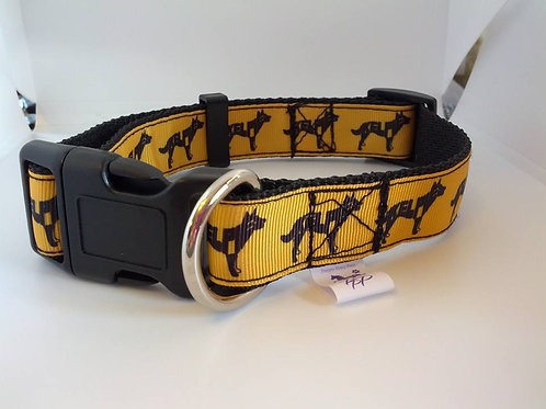 Black and yellow kelpie adjustable dog collars